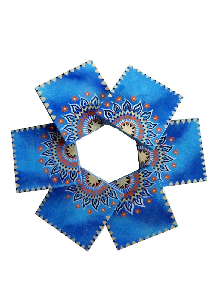 Hand-painted Wooden Coasters - Cloudy Blues