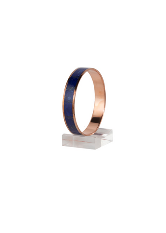 Lapis Lazuli inlaid in Copper Bangle - thick
