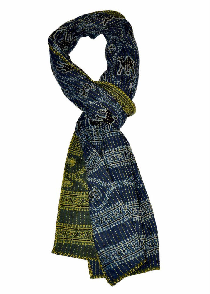 Hand-done Kantha Stitch Scarf - Reversible (Green & Indigo)