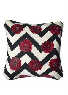 'Roses on chevron' Cushion