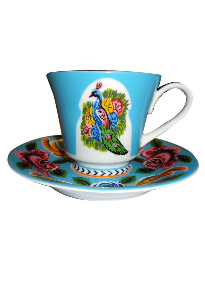 Tea Cup & Saucer - Sky Blue - Set of Two