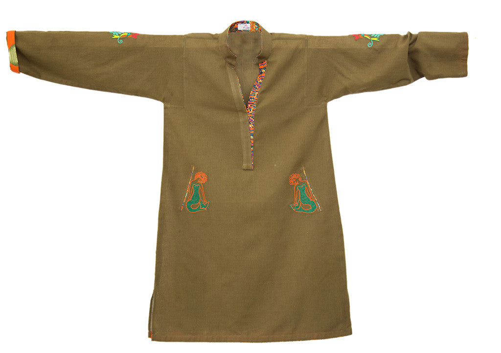 Khaddar Tunic with Mermaids