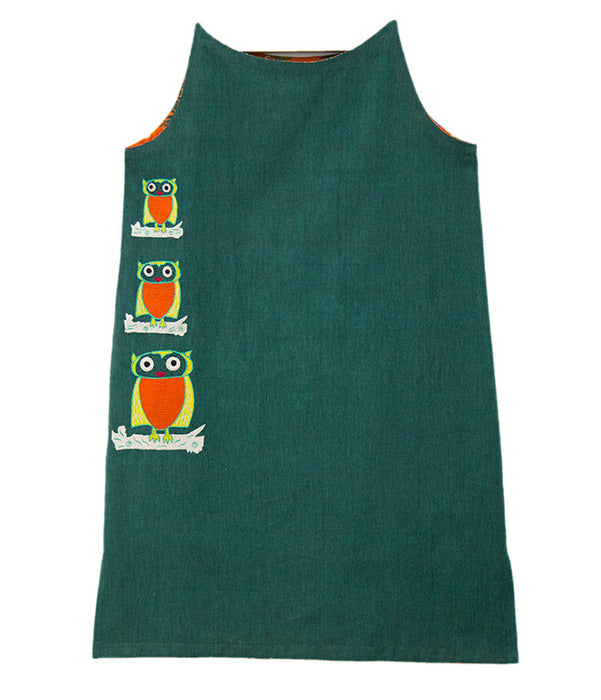 Sleeveless Khaddar Tunic with Owl