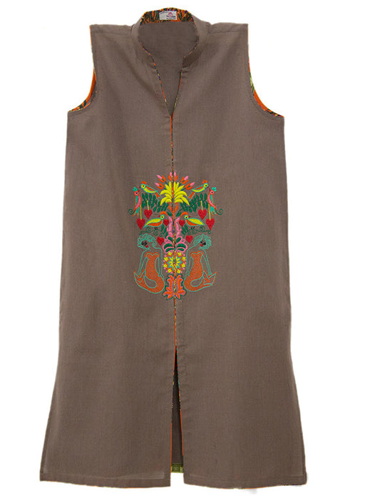 Sleeveless Khaddar Tunic with Mermaids and Birds