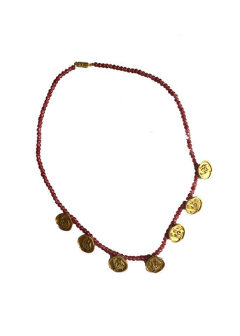 Red Beaded Brass Iqra Calligraphy Necklace
