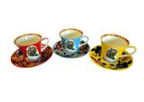 Tea Cup & Saucer - Red - Set of Two
