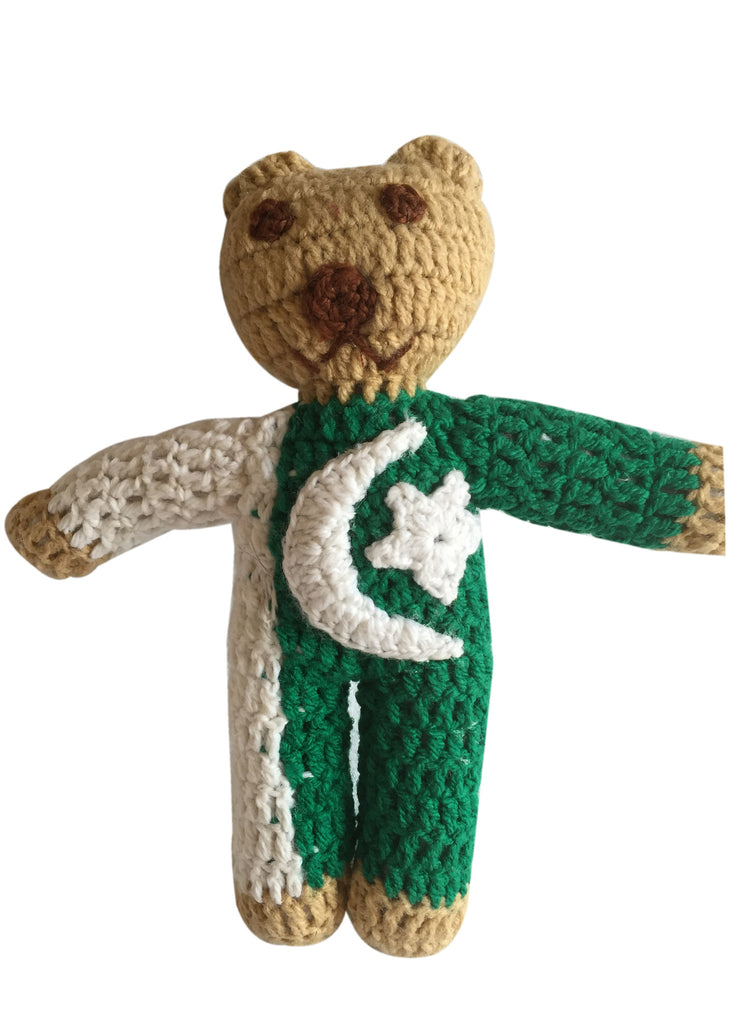 Pakistan Flag Handmade Crochet Teddy Bear
