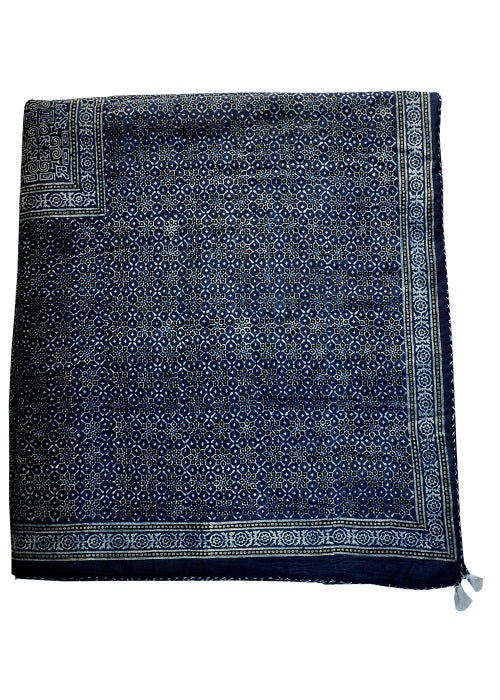 Organic Dyed Handblocked Quilted Blue Shades Square Rilli -  Reversible
