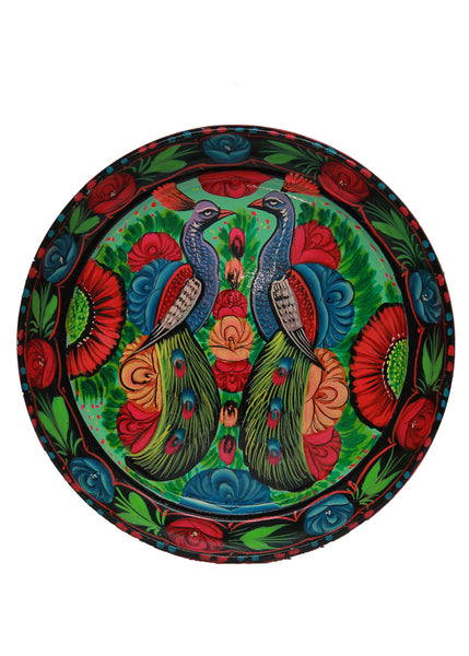 Truck Art Flowers & Two Peacock Tray Green