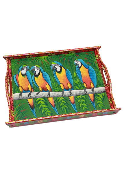 Hand-painted Macaws - Wood Truck Art Tray