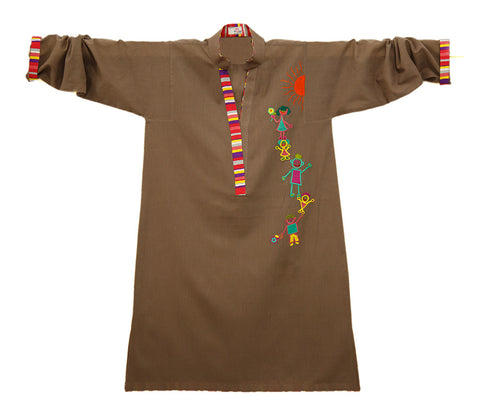 Cotton Khaddar Tunic with Vibrant Child-like Motifs