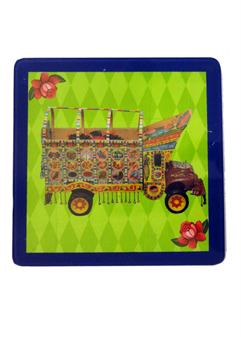 Truck Art Coaster - Truck in Green - Set of Two