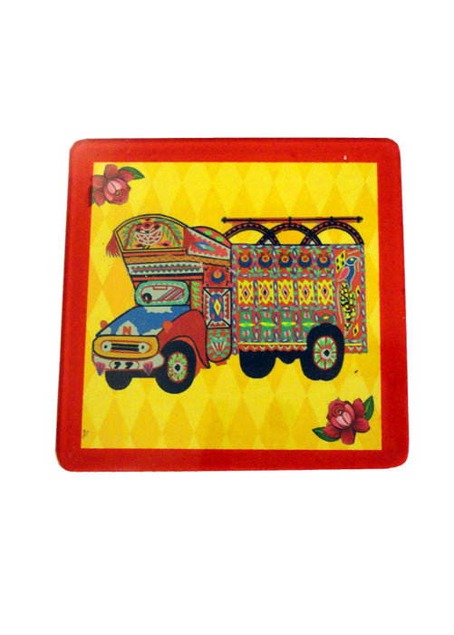 Truck Art Coaster - Truck in yellow - Set of Six