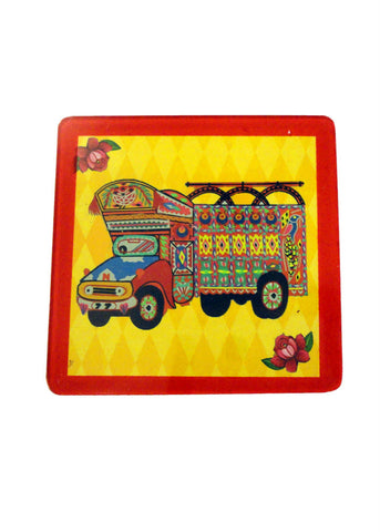 Truck Art Coaster - Truck in yellow - Set of Two