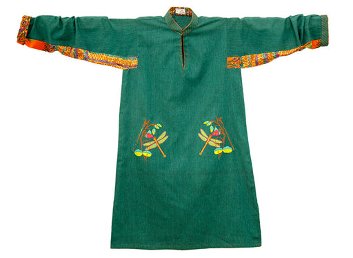 Cotton Khaddar Tunic with Floral and Dragonfly Patterns