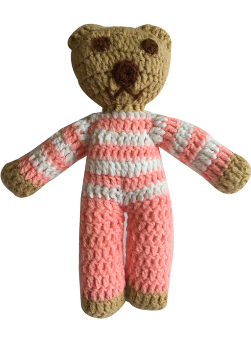 Pink and White Stripe Handmade Crochet Teddy Bear