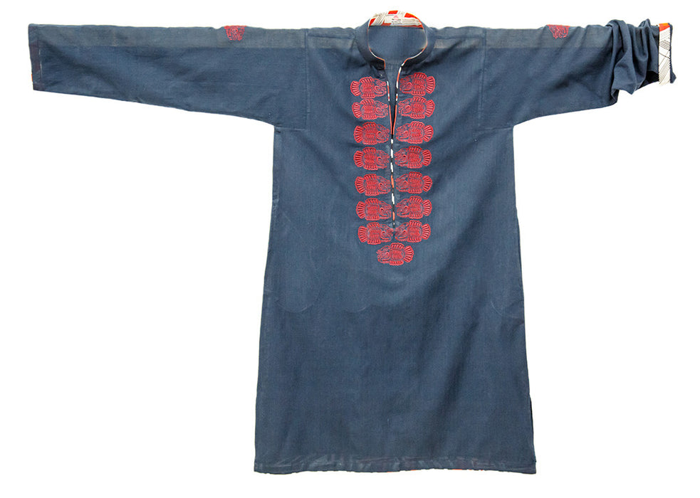 Cotton Khaddar Tunic with Mayan Piranha Motif