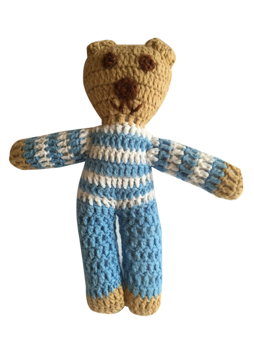 Blue and White Stripe Handmade Crochet Teddy Bear