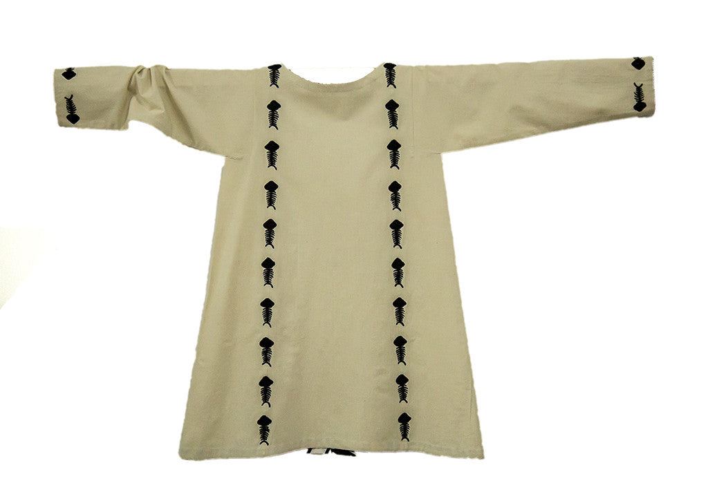 Khaddar Tunic with Embroidered Fish Skeleton Motifs