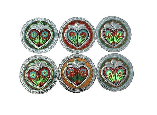 Set of six coasters - Hearts