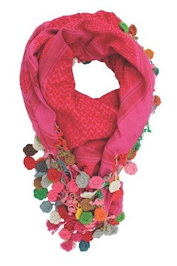 Confetti Flower Scarf - Hot Pink