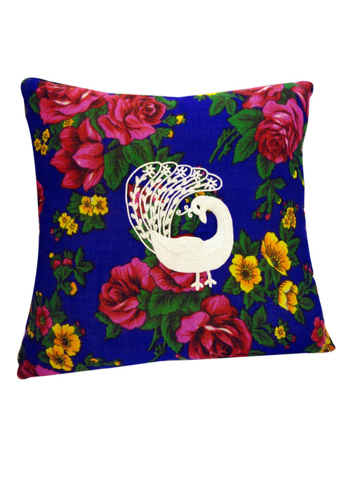 Hand Embroidered Small Peacock Cushion