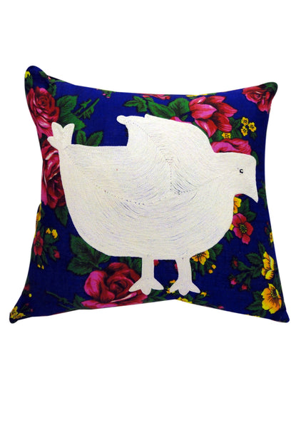 Hand Embroidered Floral Bird Cushion