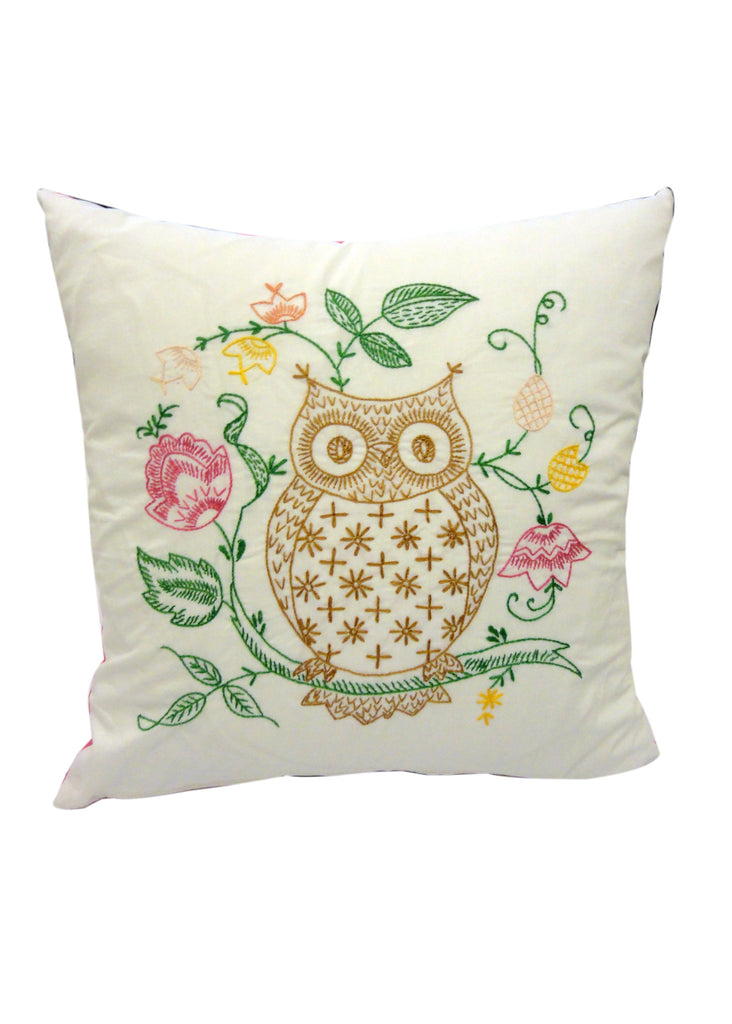Hand Embroidered Owl Cushion