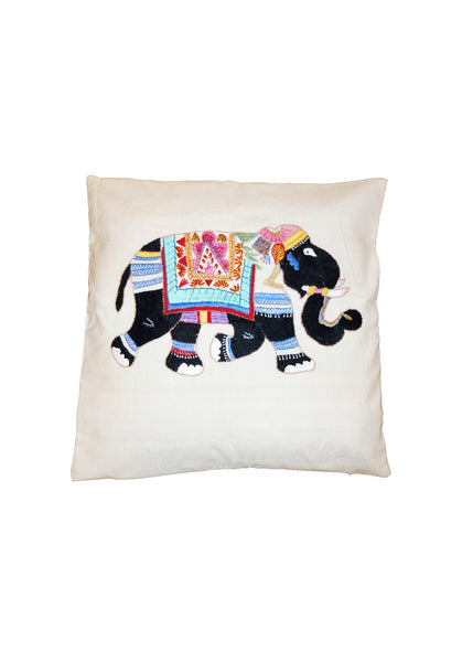Hand Embroidered Elephant Cushion