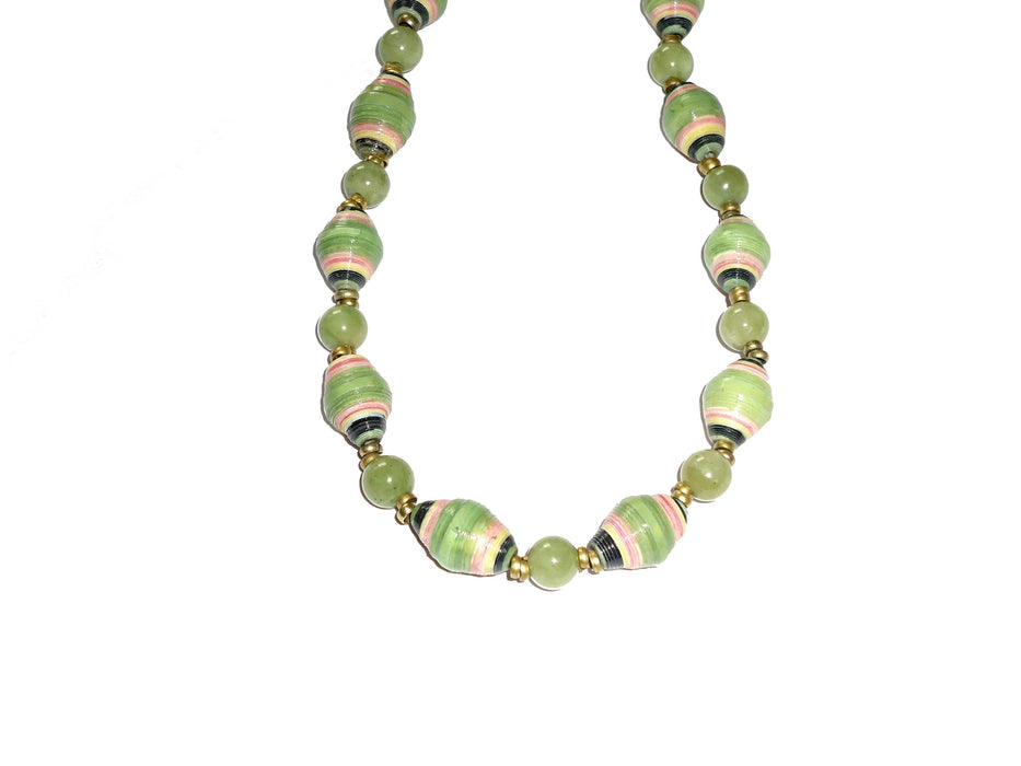 Green Paper and Serpentine Beaded Necklace