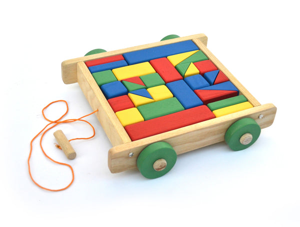 Handmade Wooden Building Blocks and Trolley