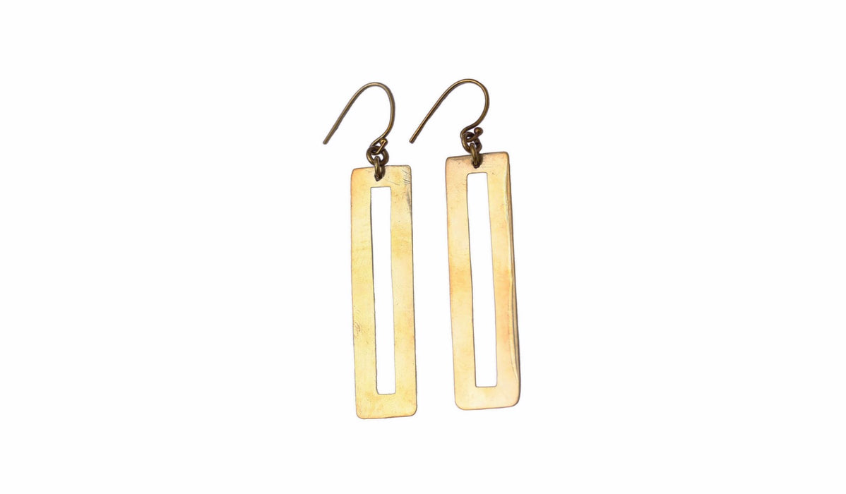 Brass Rectangle Shape Earrings