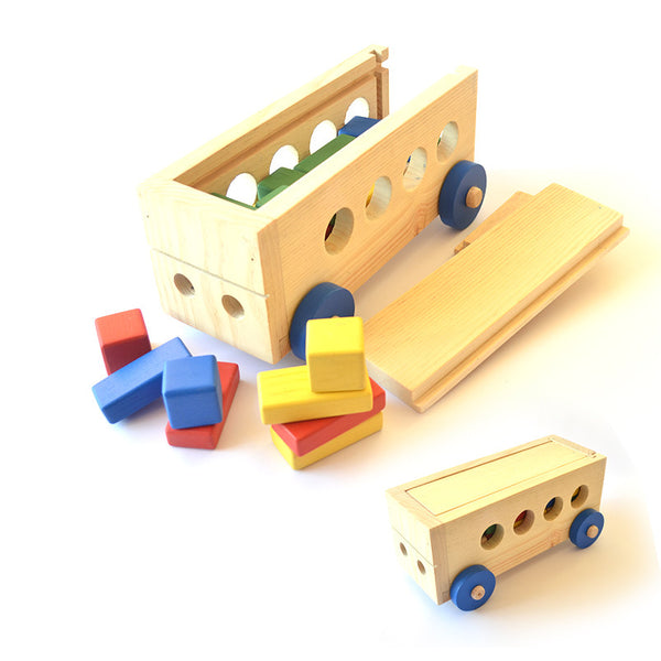 Handmade Wooden Building Blocks Bus
