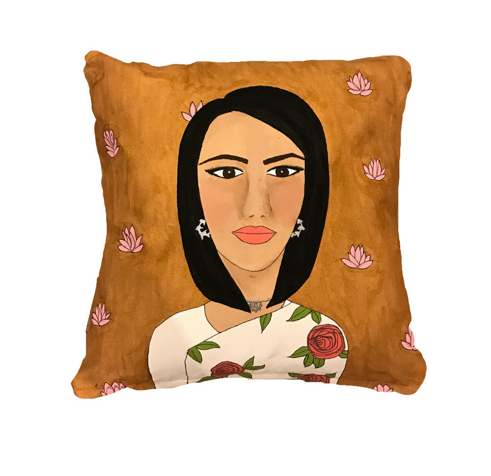 'Girl in white sari' Cushion
