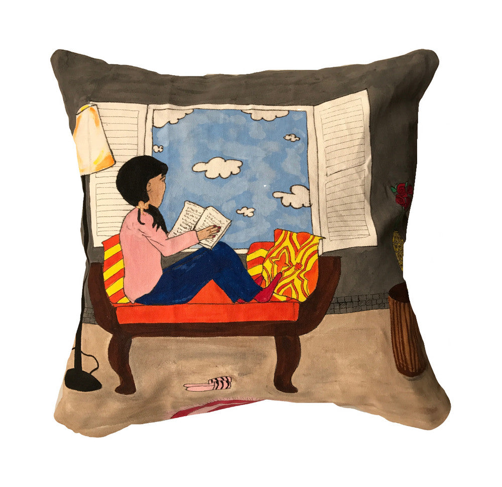'Reading by the window' Cushion