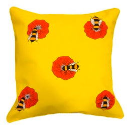 Bees on orange flowers Cushion