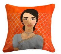 """Girl in powder blue sari' Cushion"
