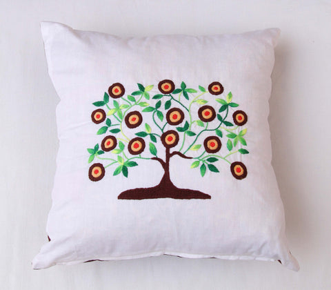 Hand Embroidered Tree Cushion