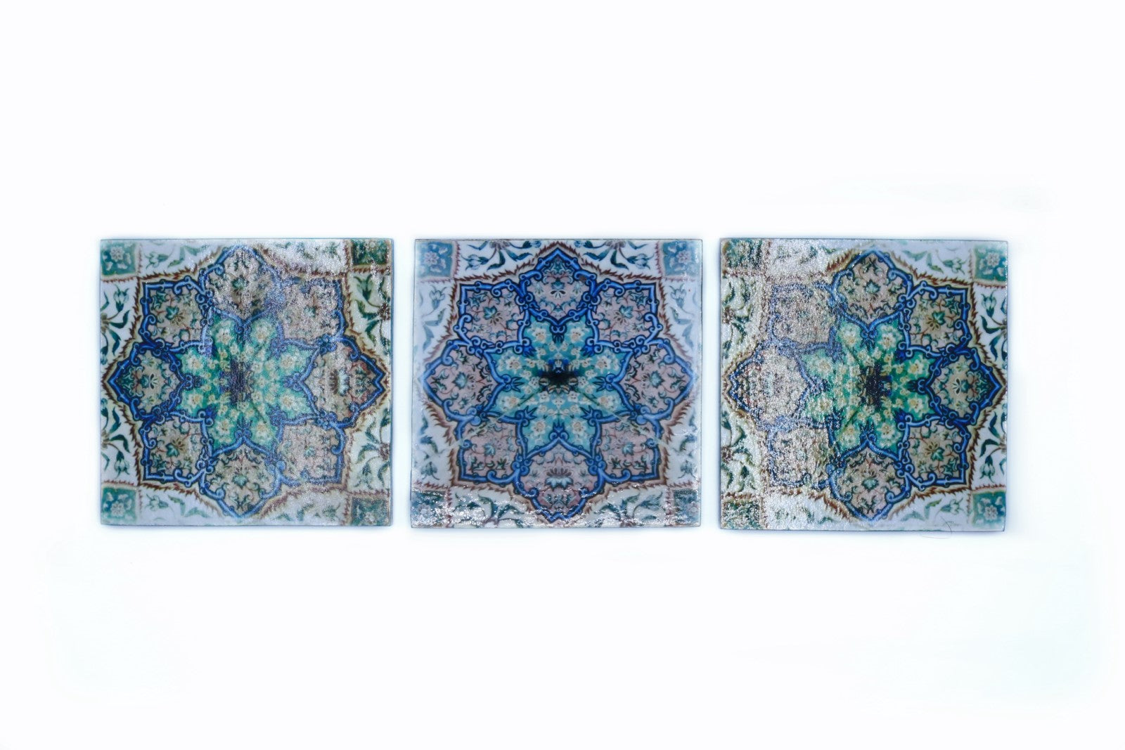Decoupage Coasters - Set of 3 - Blue Tile