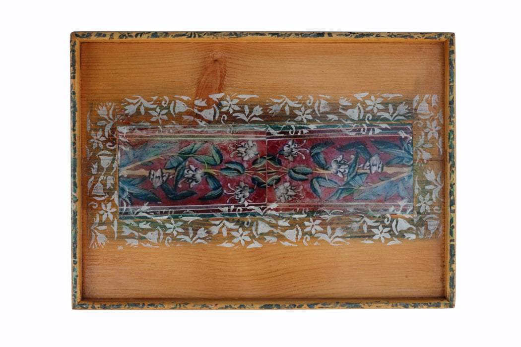 Mini Tray Decoupage - Wazir Khan Blue and Red