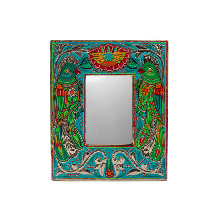 Medium Mirror Frame - Green Bird