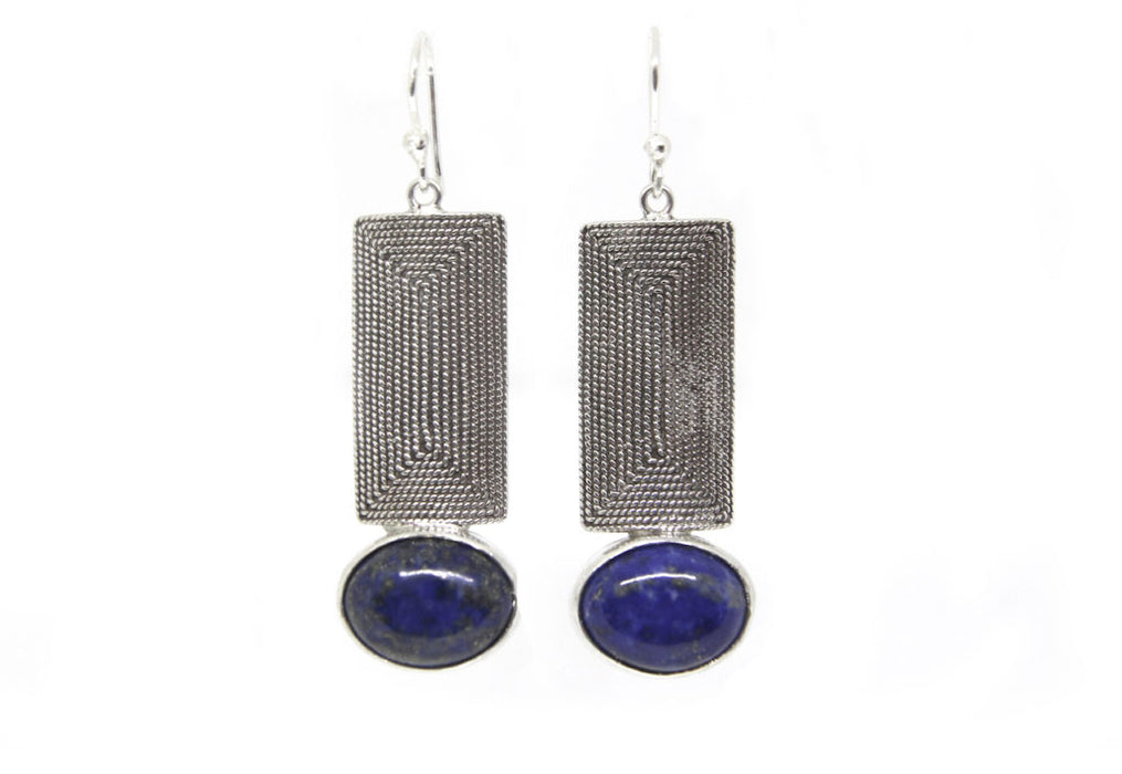 Rectangle Spiral & Lapislazuli Earrings