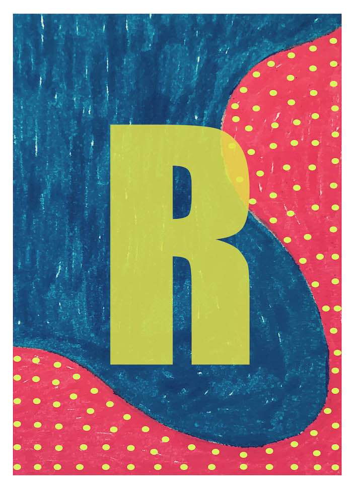 Letter R on Mass Print