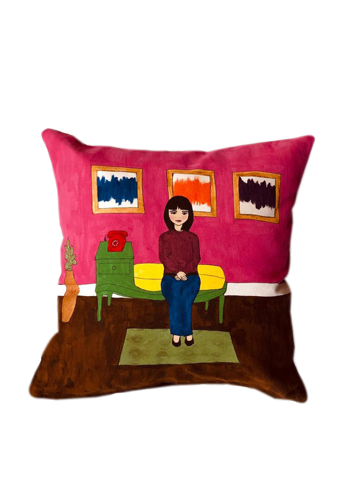 Girl and telephone Cushion