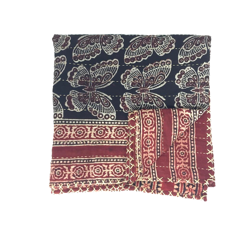 Hand-done Kantha Stitch Scarf - Reversible Black & Maroon