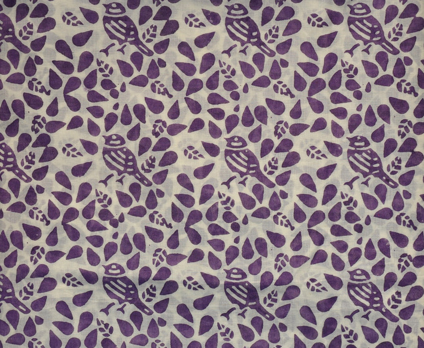 Handblocked Shirt Piece - Spring Garden with Bird in Purple