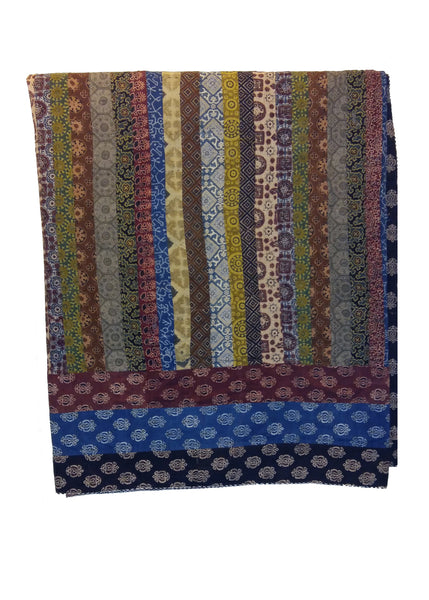 Organic Dyed Handblocked Quilted Squares Rilli -  Reversible