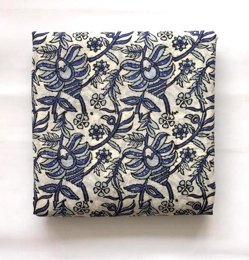 Handblocked Shirt Piece - Floral Mania in Blue