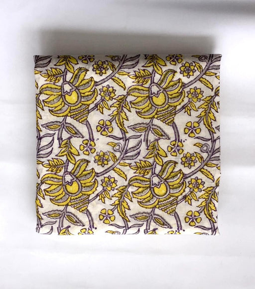 Handblocked Shirt Piece - Floral Mania in Yellow