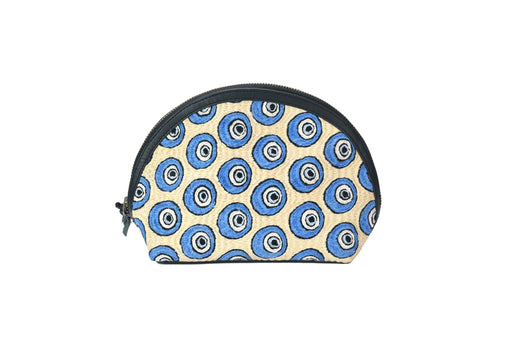 Hand Embroidered Leather Pouch - Semi Circle